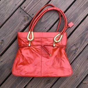 LOU TAYLOR Vintage Italy Red Leather handbag NICE!